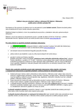 Informace k sloučení rodiny s občanem EU