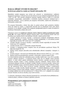 Kritéria hodnocení předpokladů uchazečů