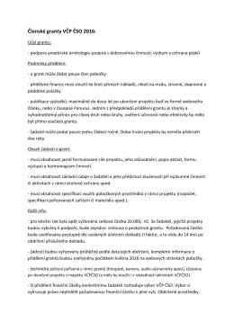 Členské granty VČP ČSO 2016: