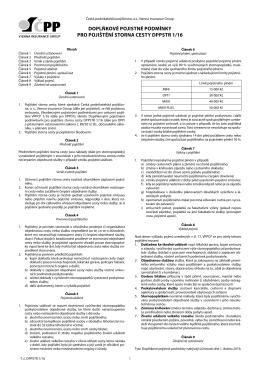 doplňkové pojistné podmínky pro pojištění storna cesty dppstr 1/16
