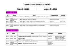 Program oslav Dne sportu – Cheb Pátek 1.4.2016 – sobota