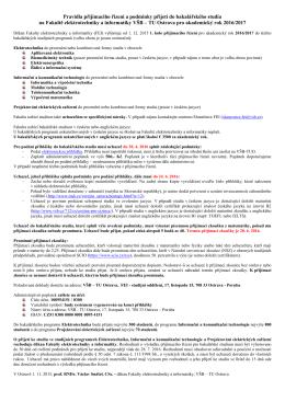 Přijímací řízení (Bc.) - 1. kolo