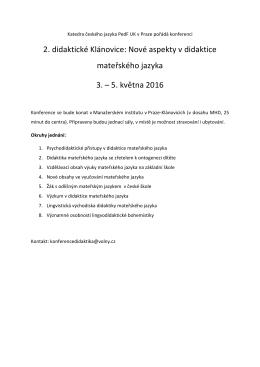 2. didaktické Klánovice: Nové aspekty v didaktice mateřského jazyka