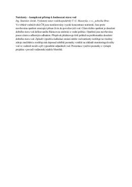 Nutrienty – komplexní přístup k hodnocení stavu vod Ing. Stanislav