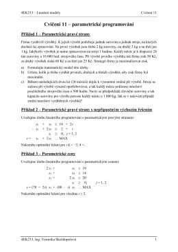 Cvičení 11 – parametrické programování