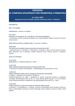 program xi. sympozia společnosti pro probiotika a prebiotika