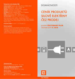 Ceník elektřiny - Produkt ČEZ GARANT PLUS