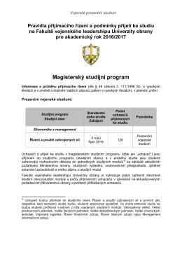 Přijímací řízení do magisterských studijních