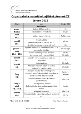 Organizační a materiální zajištění písemné ZZ červen 2016