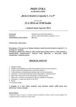 pozvánka - Bytové družstvo Lipecká 1,3 a 5