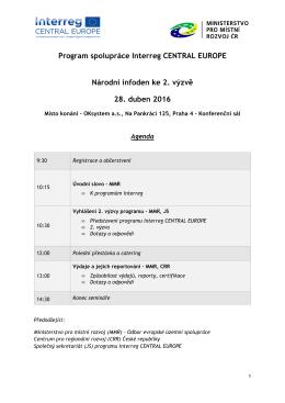 Program spolupráce Interreg CENTRAL EUROPE Národní infoden