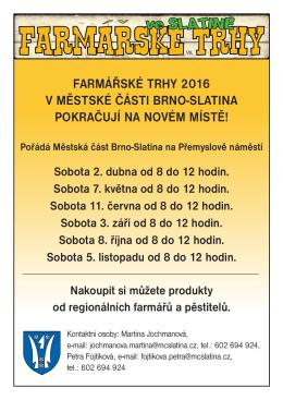 farmářské trhy 2016 v městské části brno