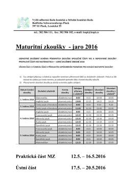 Maturitní zkoušky - jaro 2016