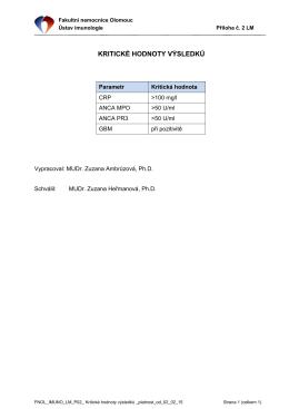 Kritické hodnoty výsledků - Fakultní nemocnice Olomouc