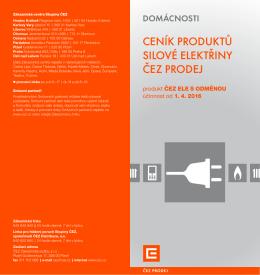 Ceník silové elektřiny - Produkt ČEZ ELE S ODMĚNOU