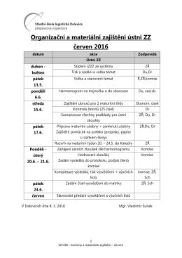 Organizační a materiální zajištění ústní ZZ červen 2016