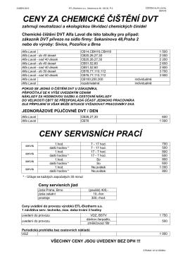 Výběr z ceníku ETL-servis a čištění Alfa Laval