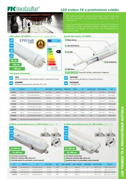 LED trubice T8 a prachotěsná svítidla