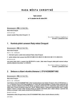 Výpis usnesení z jednání č. 14 ze dne 28. dubna