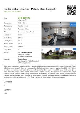 Prodej chalupy Jestřebí - Pobučí, okres Šumperk 710 000