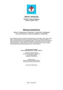 Unterkunftsverzeichnis, Stand: 5. Aug. 2015