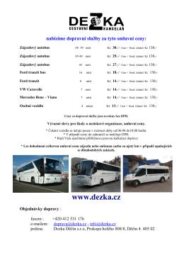 Cenová nabídka autobusové dopravy