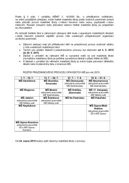 Prázdninový provoz Mateřských škol 2015 - ZŠ a MŠ Opava