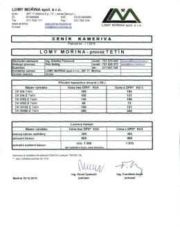 Ceník kameniva provoz Tetín