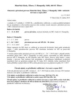 prázdninový provoz - MŠ U Humpolky Tišnov