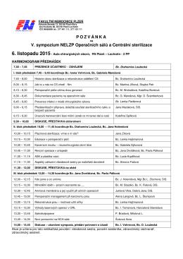 POZVÁNKA V. sympozium NELZP Operačních sálů a Centrální