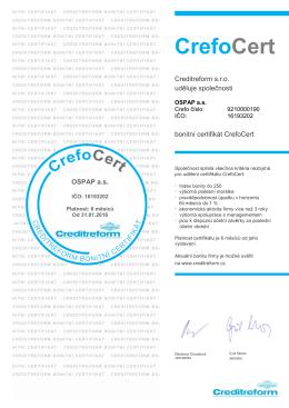 bonitní certifikát