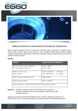 měření elektrických a neelektrických parametrů, diagnostika