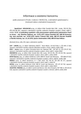 HOUSACAR, s.r.o. informace o existenci koncernu