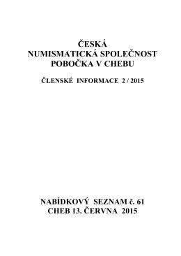 česká numismatická společnost pobočka v chebu