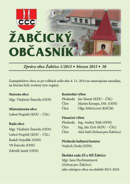 Zprávy obce Žabčice 1/2015 .březen 2015 .58
