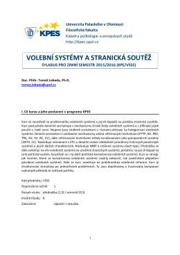Sylabus VSSS 2015 - Katedra politologie a evropských studií