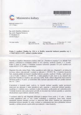 Ministerstvo Kultury o památkové inspekci