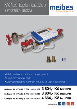 Měřiče tepla heatplus s montážní sadou