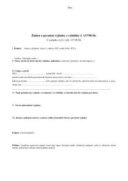 äádost o povolení vyjimky z vyhláăky ţ. 137/98 Sb.