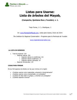 Lista de árboles del Mayab