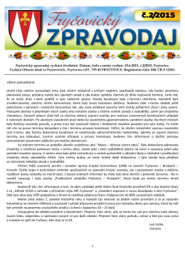 Fryčovický zpravodaj č.2 2015