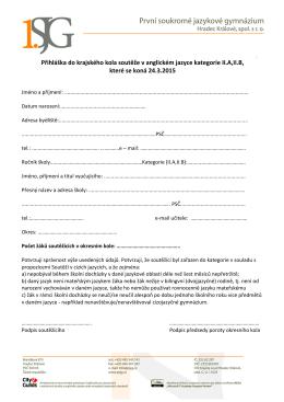Přihláška do krajského kola soutěže v anglickém jazyce kategorie II