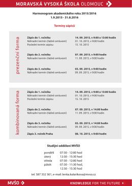 Termíny zápisů 2015