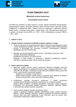 PLÁN ČINNOSTI 2015 - Metodické centrum konzervace