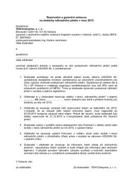 Rezervační a garanční smlouva na dodávky náhradního plnění v
