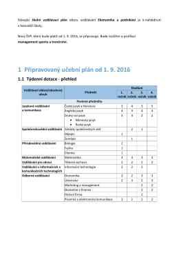 1 Připravovaný učební plán od 1. 9. 2016 1.1 Týdenní dotace