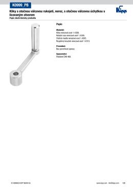Datový list K0999_PB Klika pro ruční ovládání z nerezové oceli s