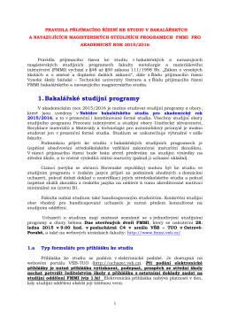 Pravidla přijímacího řízení ke studiu v bakalářských a