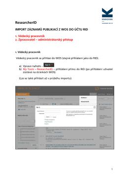 Import záznamů publikací z WOS