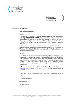 Pozvánka - Severočeská vědecká knihovna v Ústí nad Labem
